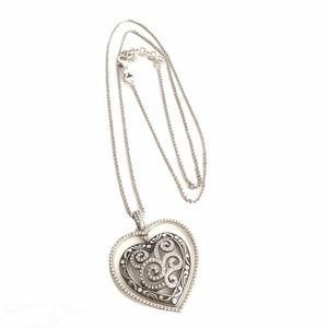 Brighton Crystal Heart Necklace Large Pendant 36""